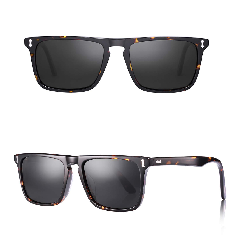 Carfia Rectangular Polarized Sunglasses for Men UV400 Protection Acetate Frame by Carfia