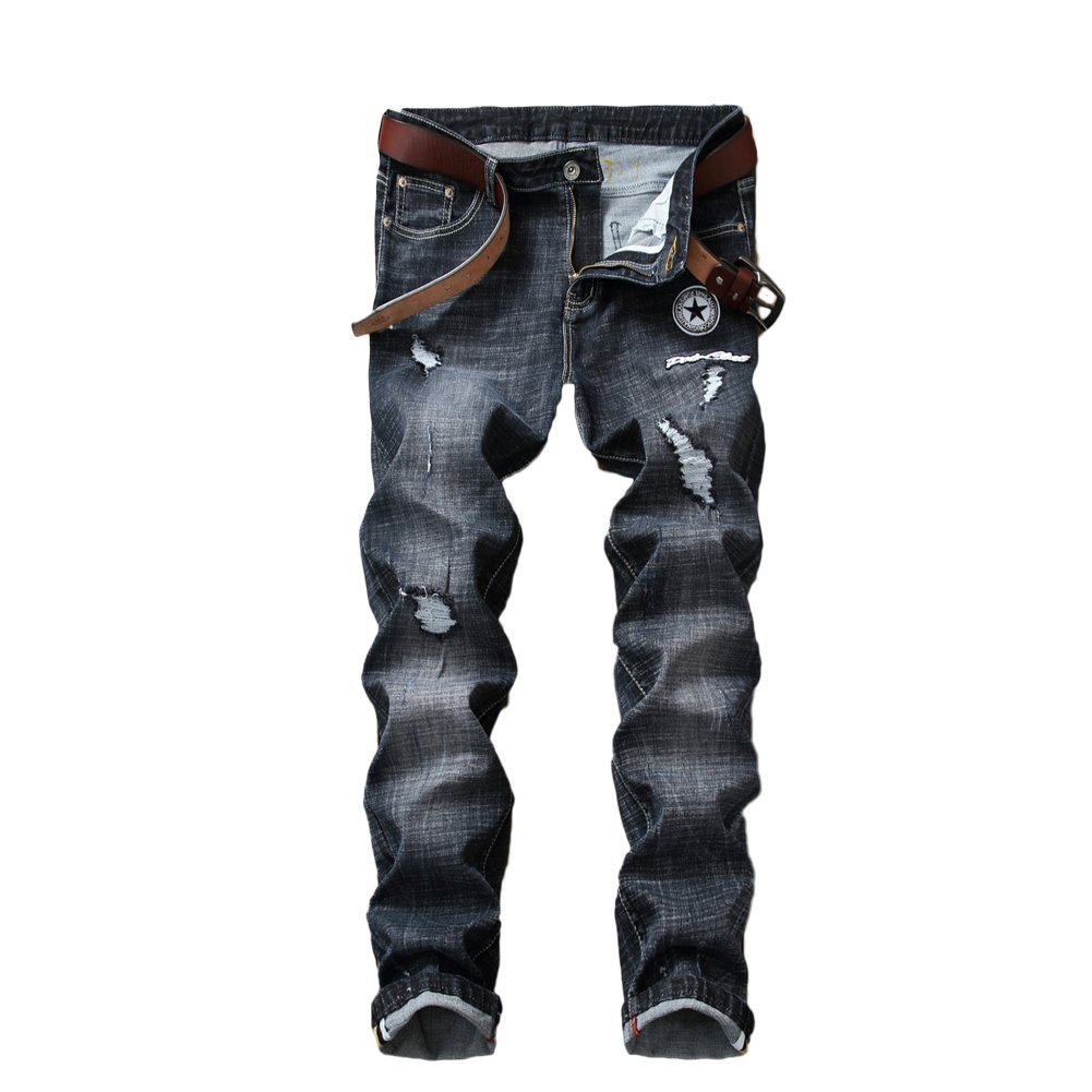 0853a352726 Amazon.com: Colors of Rainbow Rainbow25 Star Patch Ripped Denim Pants Men  Skinny Jeans Straight Long Trousers: Clothing