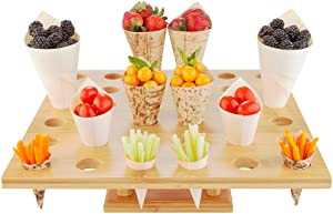 13.5-inch Oblong Food Cone and Sushi Hand Roll Display Stand: Perfect for Restaurants, Catered Events, and Buffets - Holds 36 Cones - Made from Organic Bamboo - 1ct Box - Restaurantware
