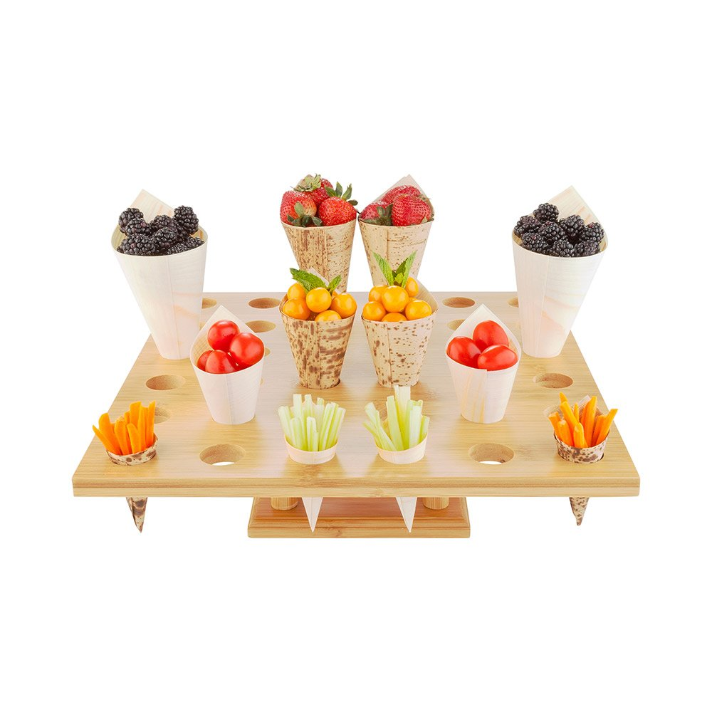 13.5-inch Square Food Cone and Sushi Hand Roll Display Stand: Perfect for Restaurants, Catered Events, and Buffets – Holds 36 Cones – Made from Organic Bamboo – 1 Count Box – Restaurantware
