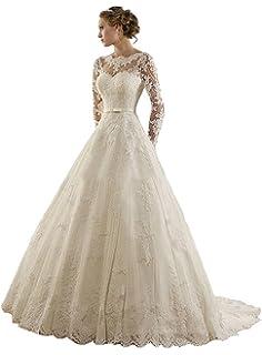91787e7a9cbd6c Cloverbridal Elegante Prinzessin Lange Ärmel Hochzeitskleid Brautkleid