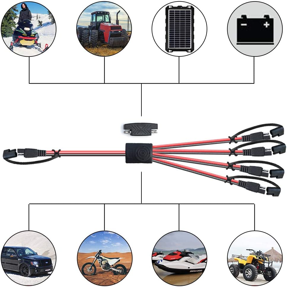 POWISER SAE 4 to 1 Extension Cable Quick Disconnect Connector 1 SAE Polarity Reverse Adaptors Solar Panel SAE Plug for Automotive