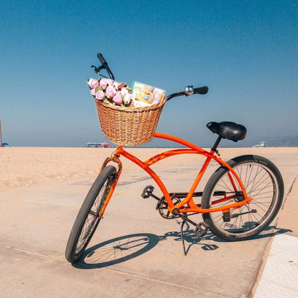 Cesto De Bicicleta De Mimbre Tejido Frente Manillar Cesta De Rat/án Artificial Hecha A Mano con Correas De Cuero para Ni/ños Girls Bike