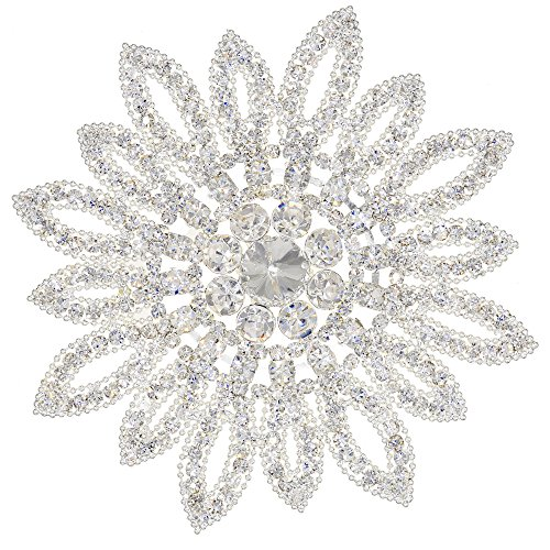- XIAOTAI Crystal Rhinestones Applique Flower Patches for Wedding Bridal Embellishments and Bridal Headpiece 4.3 inches