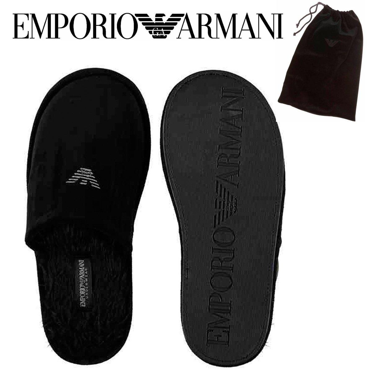 17046fd9360e EMPORIO ARMANI UNDERWEAR Black VELVET Velour Eagle Logo Men s Mules Winter  Fur Slippers Warm Authenticity Certificate UK 13-14 SALE