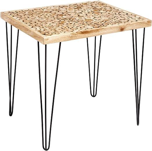 Mesa de Comedor de Troncos Artesanal de Madera de Teca, rústica en Natural, de 80x65x76 cm - LOLAhome: Amazon.es: Hogar