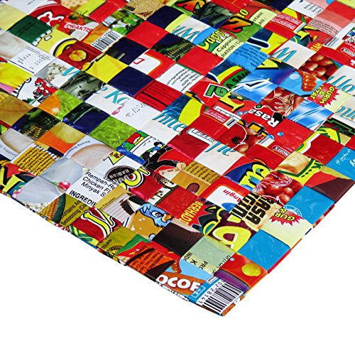 Set of 5 large placemats made from candy wrappers - Free shipping, decoration interior design sweets wrapper Fair trade ethical fun present presents cute finds inspiring alternative ideas functional by Upcycling by Milo