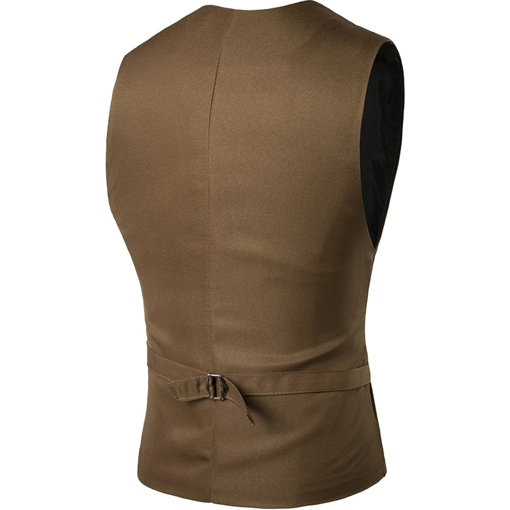 Cottory Men's Top Designed V-neck Sleeveless Casual Slim Fit Skinny Dress Vest Waistcoat Brown Large