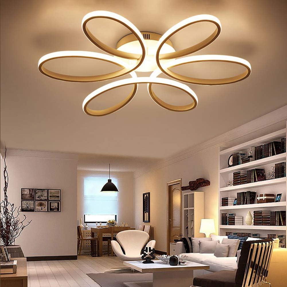 Aluminum Lamp Body and Acrylic Lampshade White Ceiling Lamp Modern Elegant Ceiling Lighting for Living Room Bedroom 110W /Φ740mm Flower Shape Ceiling Lamp 6000K Cool White LED Ceiling Light
