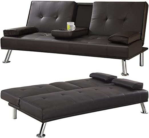 Yaheetech Modern Faux Leather Sofa Beds 3 Seater With Cup Holders Click Clack Sleeper Sofa For Guest Room Brown