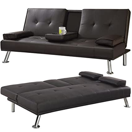 Yaheetech 3 Seater Faux Leather Sofa Bed/Sofabed with Cup Holders Brown