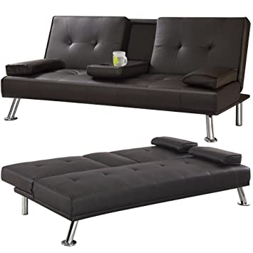Yaheetech 3 Seater Faux Leather Sofa Bed/Sofabed with Cup Holders (Brown)