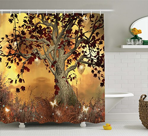 Ambesonne Old Twisted Tree Print Polyester Fabric Shower Curtain by Ambesonne