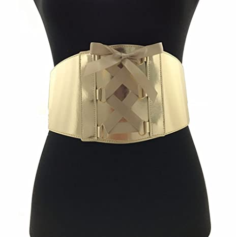 1512eac625 Amazon.com  2X 3X Plus Size Dazzling Gold Tie Up Corset Belt  Sports    Outdoors
