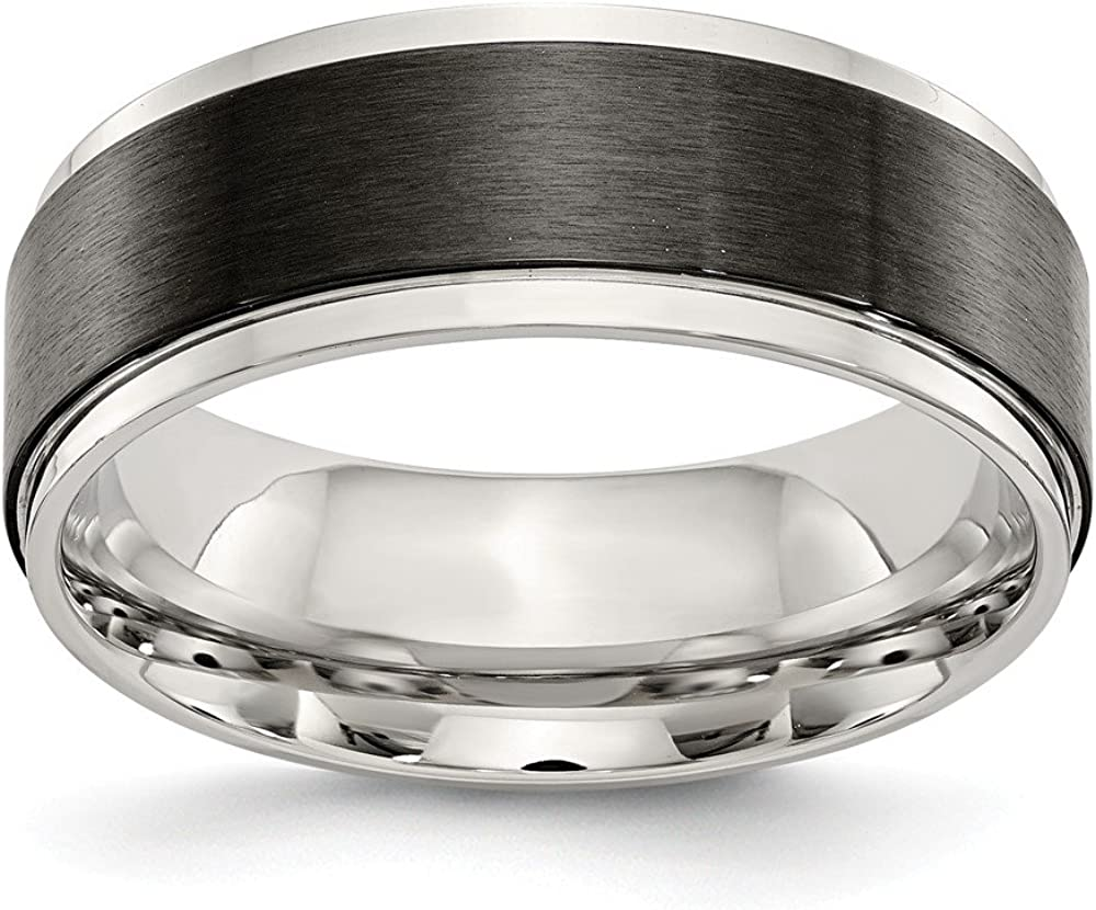 Stainless Steel Polished w//Black IP-plated Brushed Center 8mm Band Size 9 Length Width 8