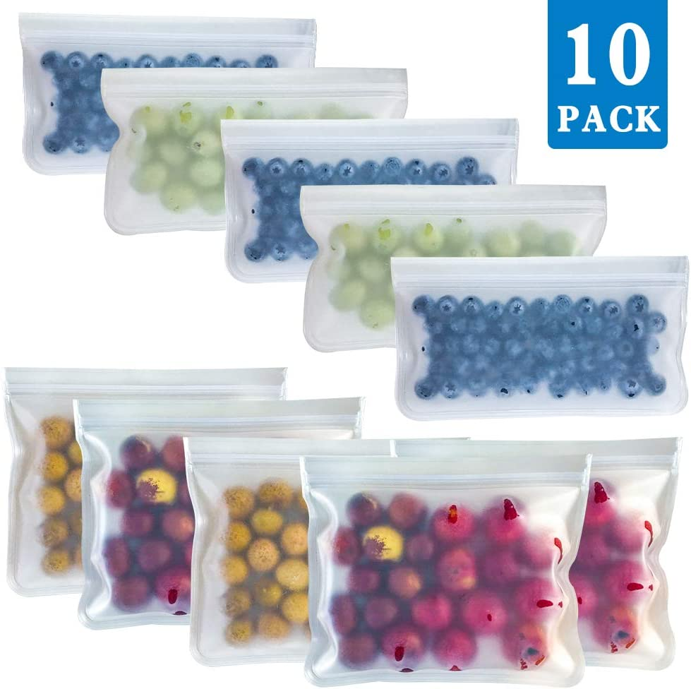 YANHU Reusable Storage Bags - 10 Pack Clear Biodegradable Freezer Bag(5 Leakproof Reusable Sandwich Bags & 5 Thick Reusable Snack Bag) - Silicone Ziplock Lunch Bags for Food Meat Fruit Cereal Storage