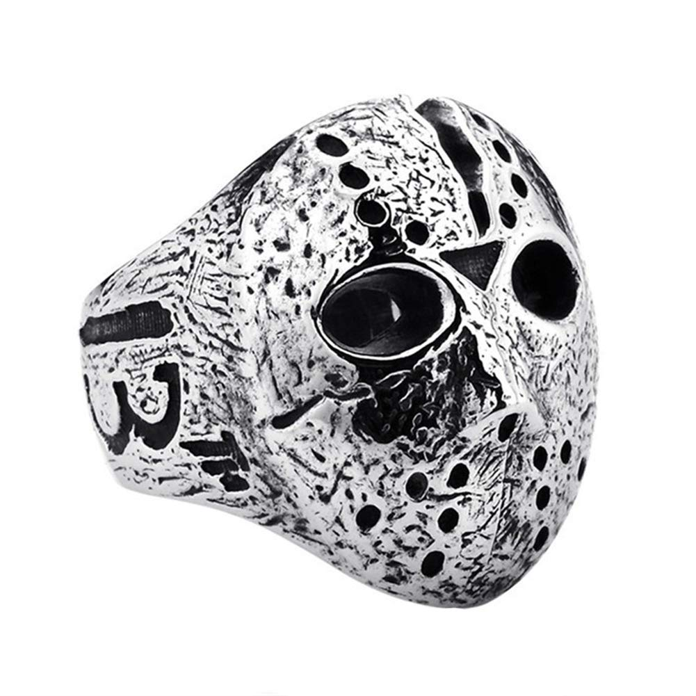 ink2055 Punk Rock Rings for Men Jason Hockey Mask Horror Skull Finger Ring Finger Jewelry Gift - Antique Silver US 7 by ink2055 (Image #1)