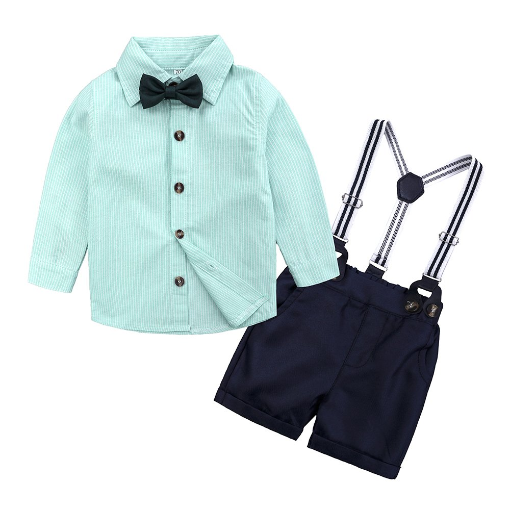 Infant Toddler Boys Clothing Set Gentleman Outfit Bowtie Polo Shirt Bid Shorts Overalls