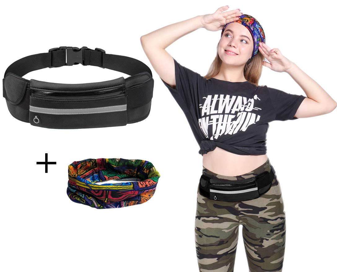 Kegto Running Belt Pouch for Men and Women, Slim and Lightweight Runners Belt Fanny Pack, Bounce Free Waist Pack, Great for Jogging, Running, Walking, Cycling and Gym, Bonus with Magic Headband