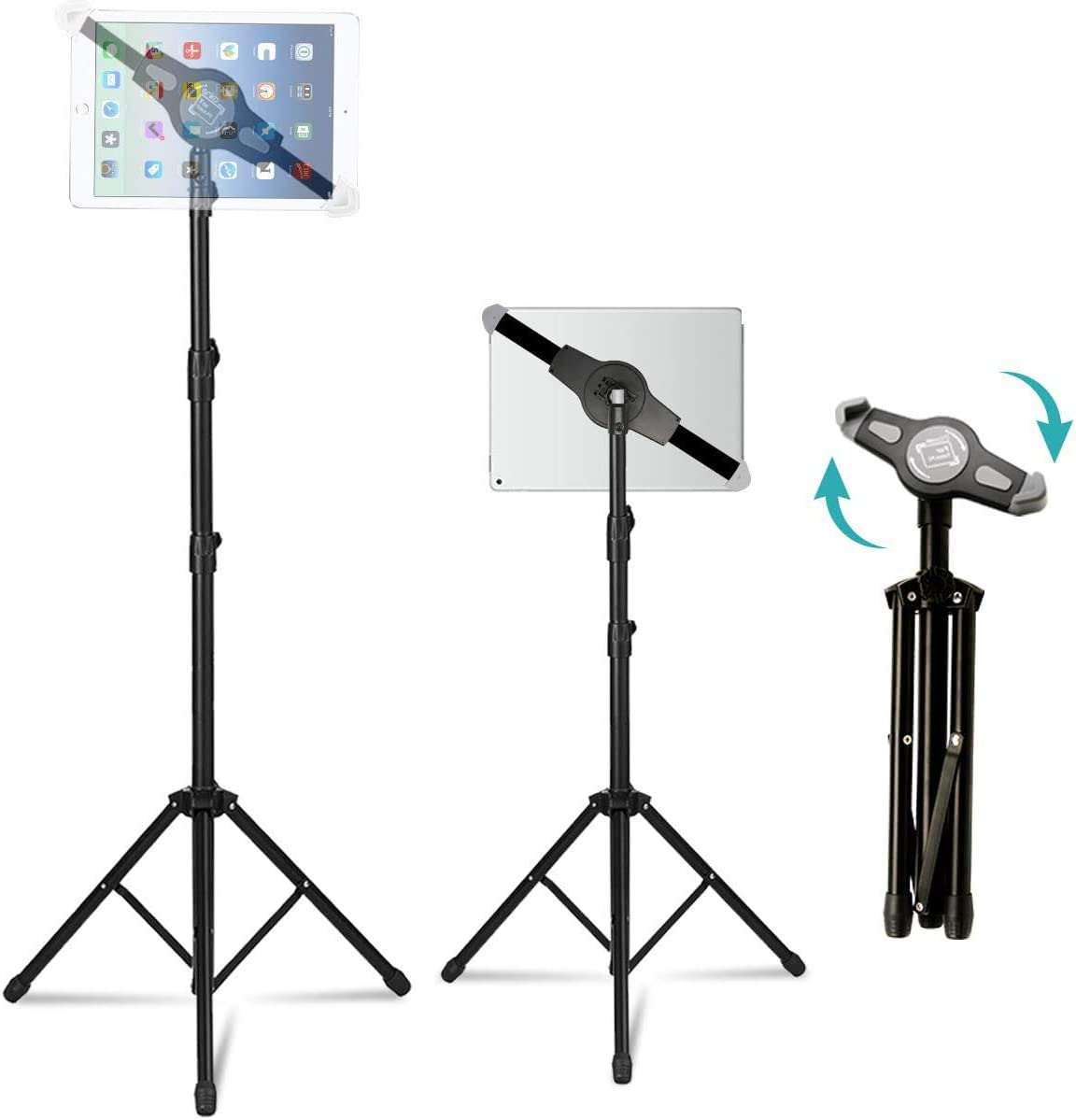 """Ipad Tripod Stand, Vstyle Height Adjustable 20 to 60 Inch Tablet Tripod Mount For Ipad Pro 12.9""""/11"""", Ipad Air 10.5"""", Ipad 9.7'' and More 9.5"""" to 14.5"""" Tablet"""
