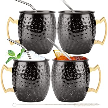 QueenBar Cup Black Plated Hammered Moscow Mule Mug