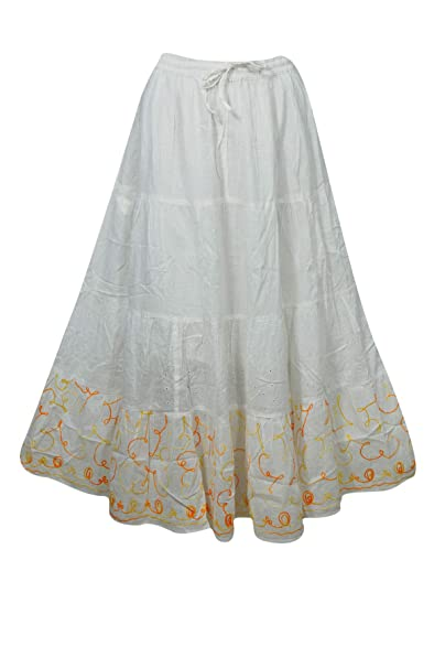 c23f3a968c Image Unavailable. Image not available for. Color: Mogul Interior Women's  Gypsy Maxi Skirt White Cotton ...