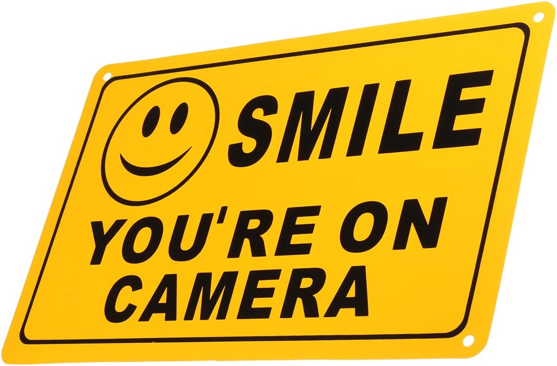 Lot of 2 Smile You/'re On Camera Yellow Security Surveillance Camera Warning Sign