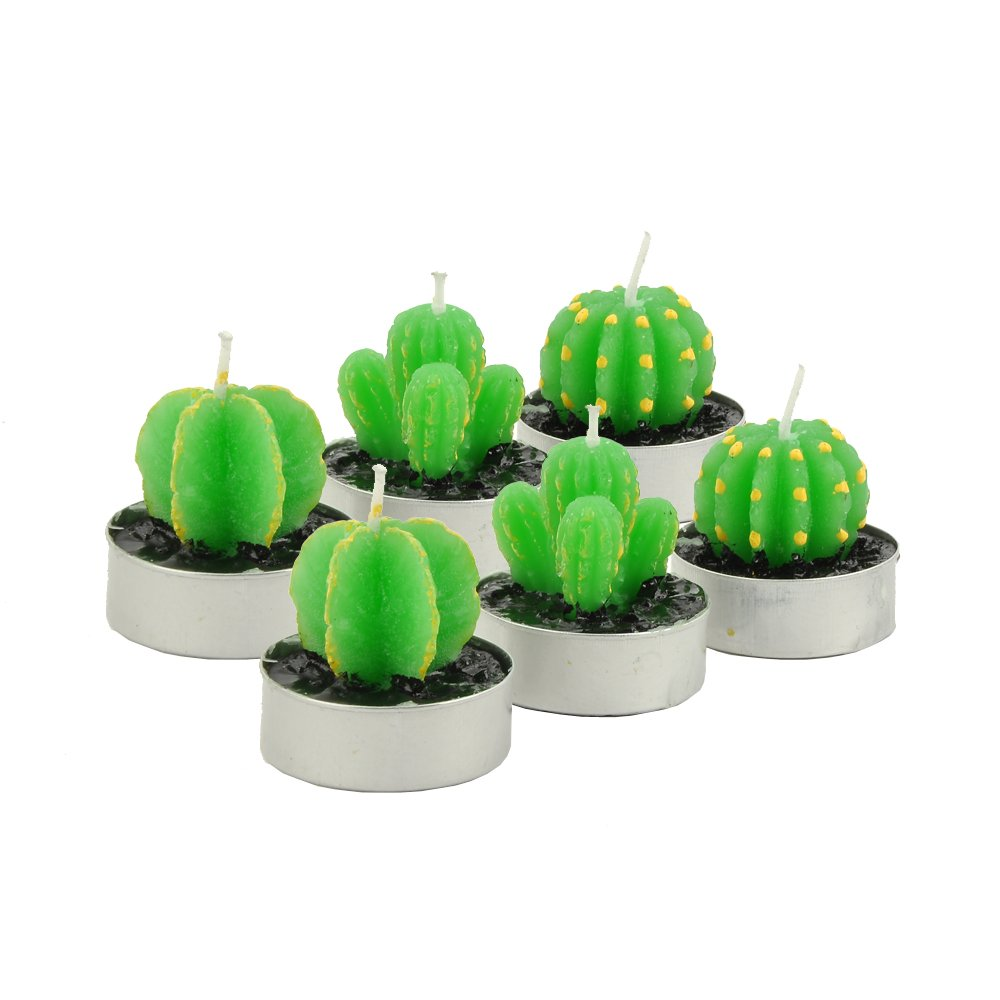 Syman Cactus Decor,Cactus Tealight Candles Handmade Delicate Succulent Cactus Candles for Party Wedding Spa Home Decoration Gifts Mokeep