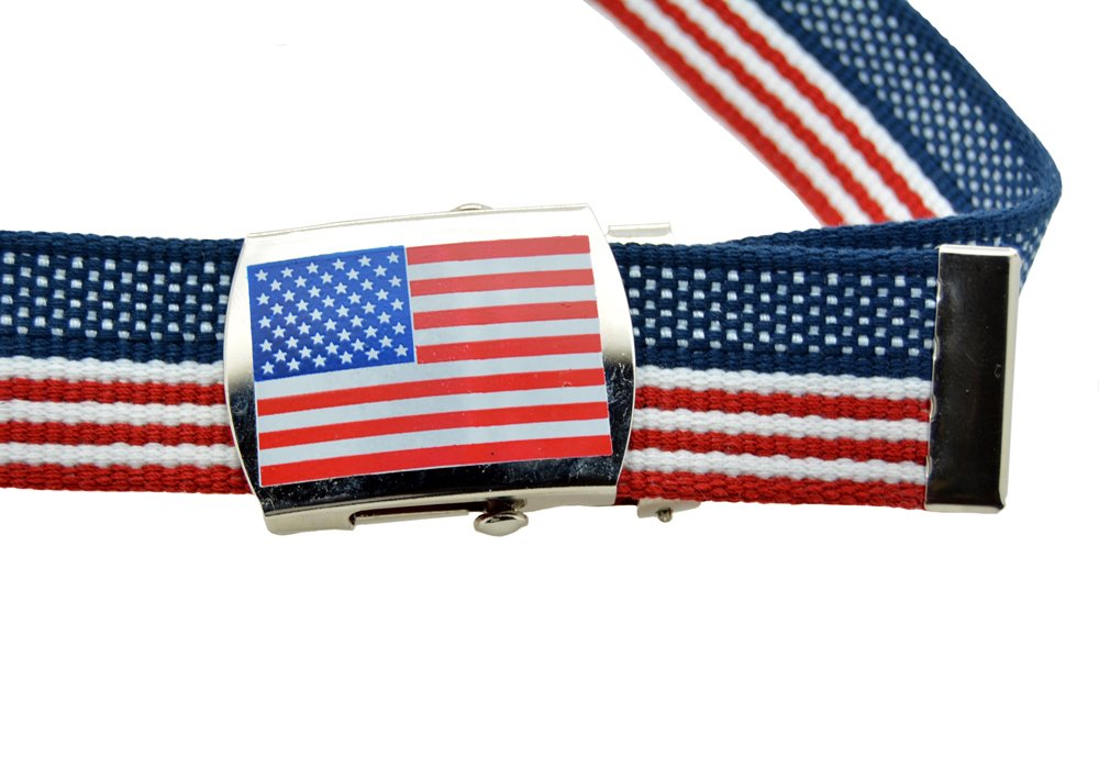 """Usa Flag"" Canvas Military USA Flag Web Belt & Buckle 60 Inch"