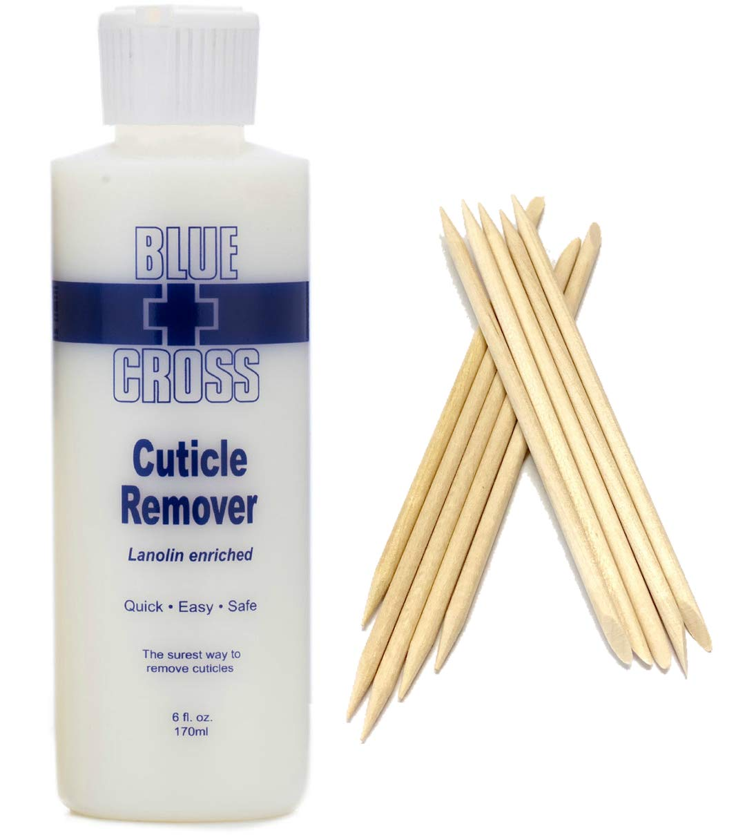 Blue Cross Cuticle Remover 6 Ounce Bundle with SMFE Wooden Cuticle Sticks : Beauty