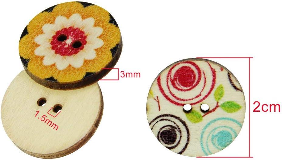 Scrapbooking 200 Botones de Madera Redondos de Colores con 2 Agujeros SNAGAROG Sagarog para Costura Manualidades Botones de Costura decoraci/ón Estilo Vintage