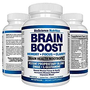 Premium Brain Function Supplement – Memory, Focus, Clarity – Nootropic Booster with DMAE, Bacopa Monnieri, L-Glutamine, Vitamins, Minerals - BioScience Nutrition