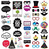 60th Birthday Photo Booth Party Props - 40 Pieces - Funny 60th Birthday Party Supplies, Decorations and Favors