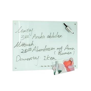 SoBuy® Pizarra de cristal magnética/tablero de notas magnético en vidrio, 60 x 40 cm,FRG87-W,ES