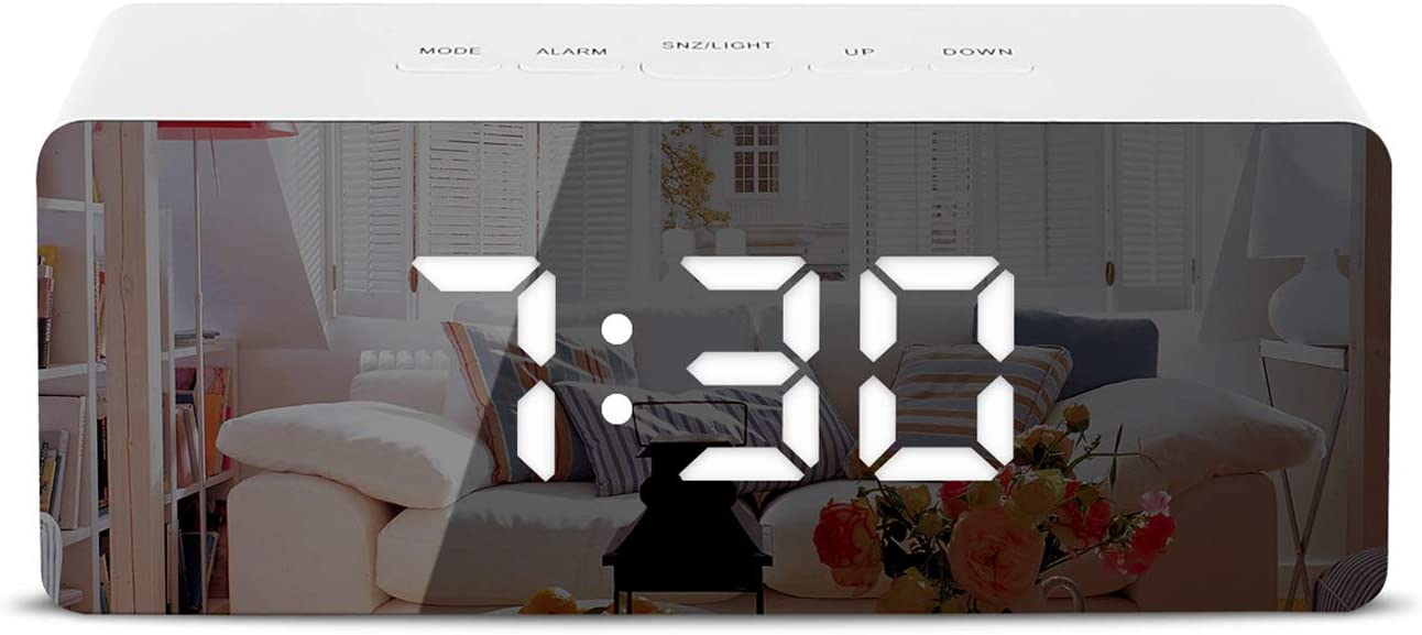 Shayson Digital Alarm Clock, LED Display Clock Best Makeup Bedroom Mirror Travel Alarm Office Bedroom Clock, Alarm Clock with Snooze, Dimmer Control, Support Battery Powered and with USB Port-White