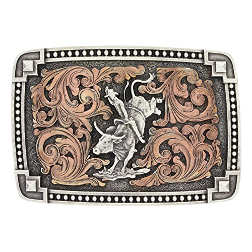 Montana Silversmiths Classic Impressions Tied at The Corners Attitude Buckle with Bull Rider (Bull Rider Buckle)