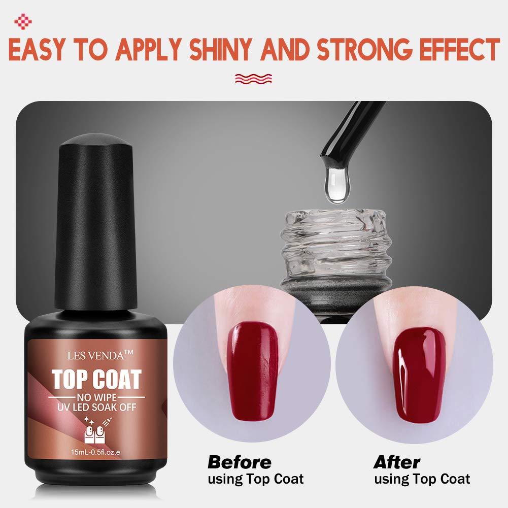 2 Pcs 15ml Mirror Top Coat and Base Coat Set, No Wipe top Coat Gel Nail Polish Sparkle and Long Lasting, Soak Off UVLED Gel : Beauty