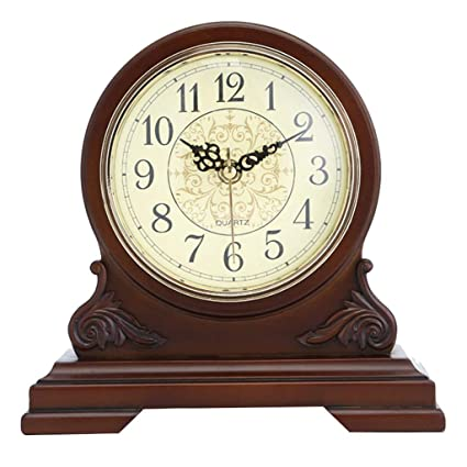 LQUIDE Family Fireplace Clocks Desk Clock, Wooden Clock, Non-Ticking Silent Table Clock