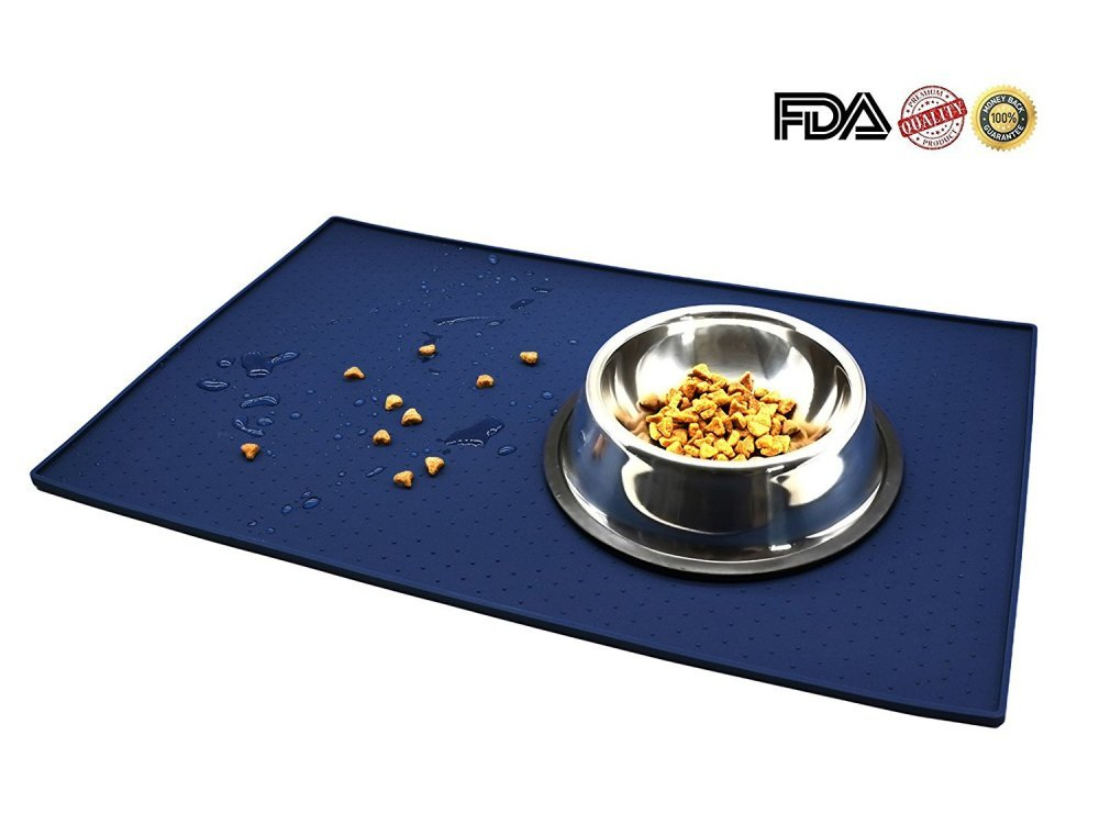 Silicone Pet Food Mat,Premium Waterproof FDA Food Grade Silicone, BPA Free, 18.9'' X 11.8'' Flexible and Easy to Clean Feeding Mat, Protects Your Floors From Food And Water Spills ''(Blue)