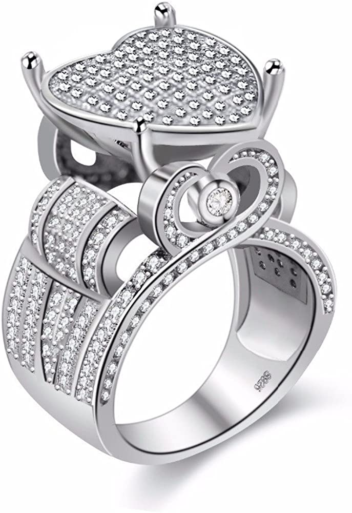 Uloveido Platinum Plated Love Heart Heart Cubic Zirconia Cluster Anillos de Boda Wide Band Engagement Architecture Ring Y426