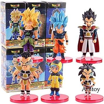 Romantic-Z WCF Dragon Ball Super Vegeta Gogeta Freezer Broly Paragus Nappa Raditz Bulma Son Goku Dragon Ball Figura de acción Juguetes de PVC 6pcs / Set, B con Caja de Colores: Amazon.es: