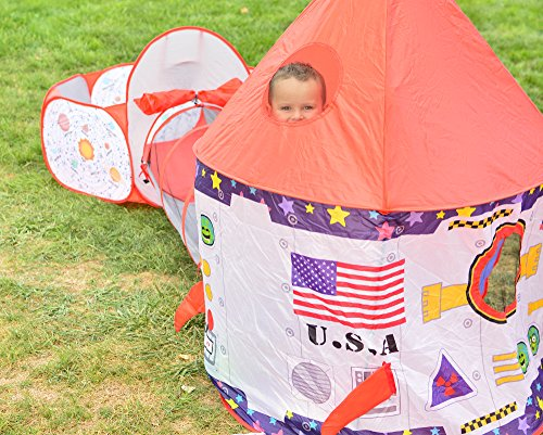 Playz 3pc Rocket Ship Astronaut Kids Play Tent, Tunnel