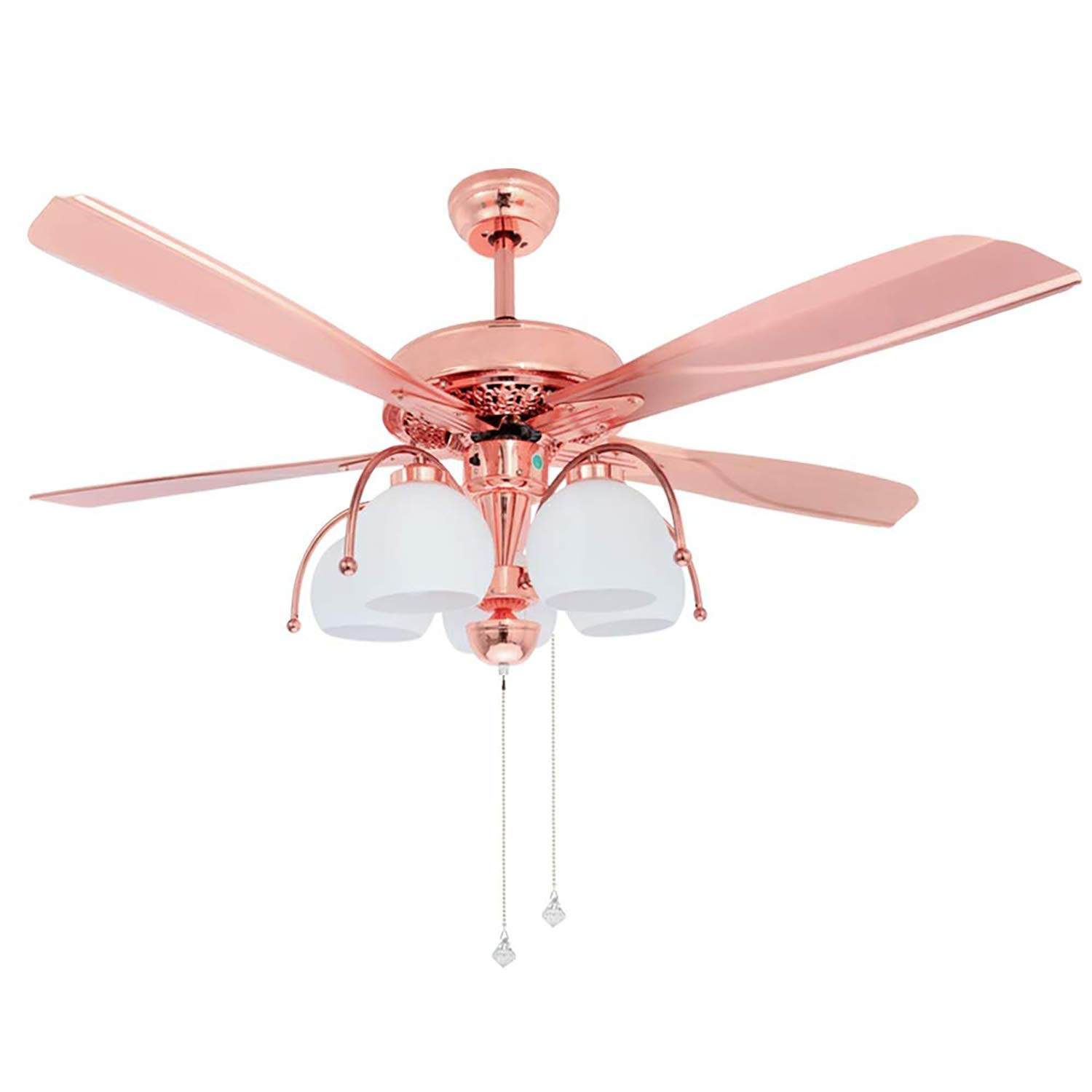 Tropicalfan Metal Ceiling Fan With Remote Control 5 Glass Light Cover Home Decoration Living Room Bedroom 5 Reversible Blades Quiet Fans Chandelier Rose Gold 5 Lights