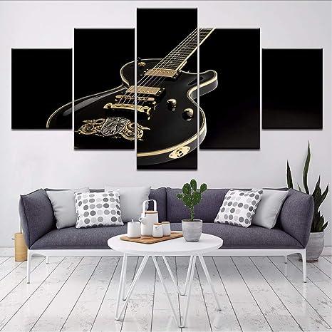 Fyyanm Schwarz Metall Violine 5 Stück Hd Kunst Leinwanddruck Moderne Poster  Modulare Kunst Malerei Für Wohnzimmer