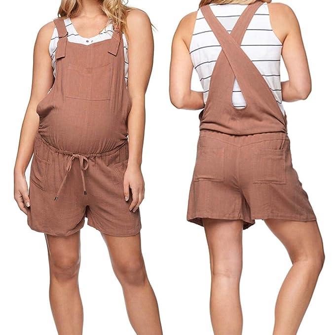 Damen Strampler Umstandshose,Frauen Mutterschaft Baumwolle Taschen /ärmellose Lose Kurze Strampler Overall Schwangerschaftshosen Umstandsmode G/ünstig