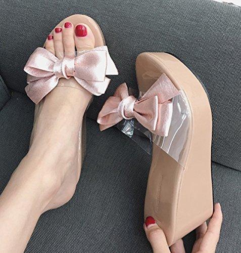 Hembra Fondo Impermeable Pajarita Transparente Remolque Tipografía Pendiente Zapatillas Bien Verano GTVERNH Plataforma Talon Pink Grueso Muffin 5qxgwn6UY
