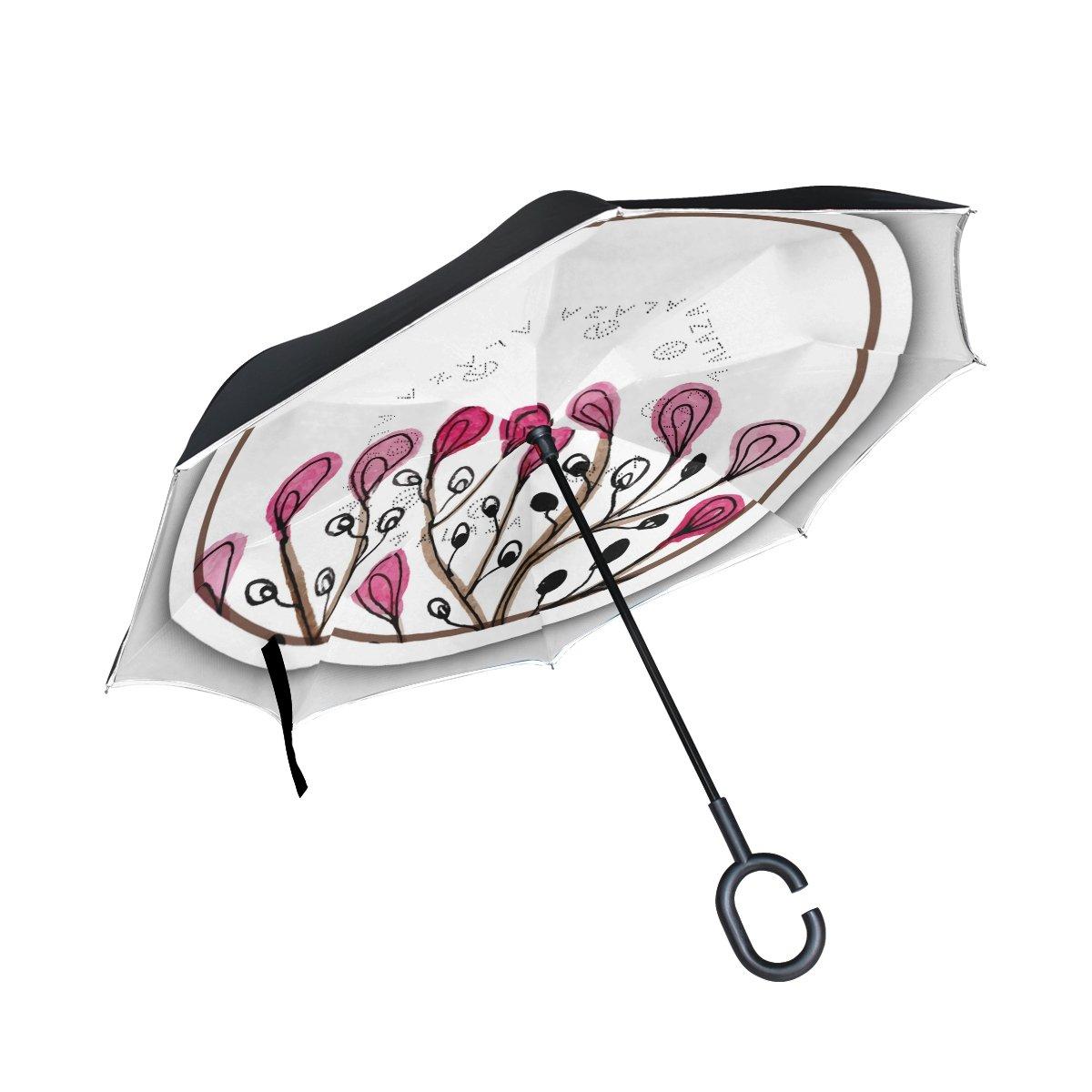 Double Layer Inverted傘雨太陽またはトラベル傘防風UV保護Big Straight傘軽量ポータブルアウトドアゴルフ傘C型ハンドル内部Plant in円3 B07B3R9QQ3