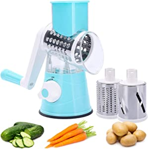 2021 Upgraded Manual Vegetable Slicer Rotary Cheese Grater, Rotary Shredder for Fruits, Vegetable and Walnuts-Easy to Clean & Operate Blue