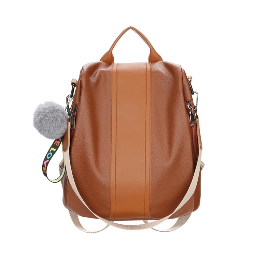 KONFA Elegant Backpack For Women,Ladies Teen Girl Plush Ball Zipper Travel Leather Bags Shoulder Bag (Brown)