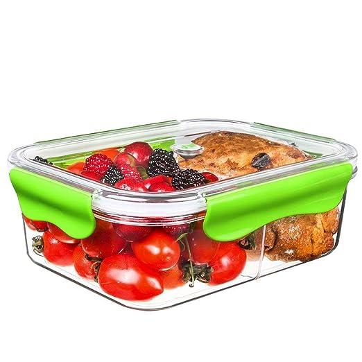 Tritan Plastico Contenedor Alimentos Hermetico, Recipientes Comida Microondas, Fiambreras Bento con 2-compartimentos, tapers para comida almuerzo, ...